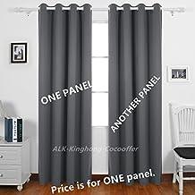 "ALK - cortinas con ojales, con aislamiento térmico, opacas, con forro, listas para colgar, poliéster, Gris, 90"" x 90"" (230cm*230cm)"