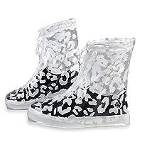EgBert Pvc Women Rain Shoes Cover Adjustable Double Layers Zebra Pattern Waterproof Rain Reusable Shoes Covers Slip-Resistant Rain Boot
