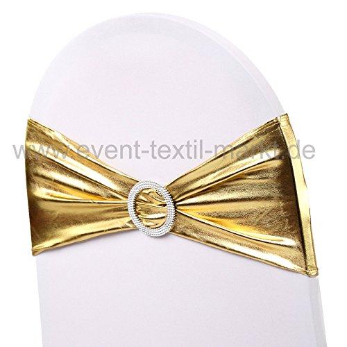 event-textil-markt 5 x Stretch Stuhlbänder Stretchbänder Schleifen für Stuhlhussen 25 Farben - metallic gold -