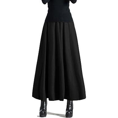 1d35fb121a Najia Symbol Womens High Waisted Elegant Flared Maxi Skirt  Showomen404(Black, Asian XL/UK 14): Amazon.co.uk: Clothing