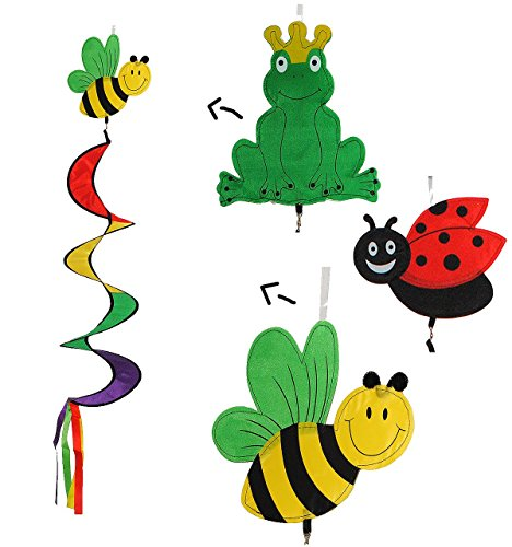 1 Stück - Windspirale & Windspiel - Marienkäfer / Frosch / Biene - Spirale Spinner - Windrad Windräder - Wetterfest für Außen - Dekohänger Traumfänger / Gartendeko