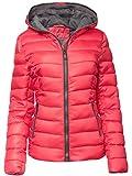 Damen Steppjacke DAUNEN Optik SKI Jacke KURZ Mantel Parka Kapuze TOP Farben, Farbe:Rot, Größe:S