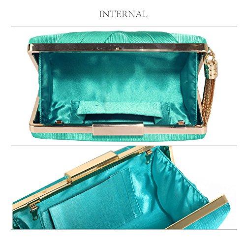 TrendStar Frauen Atemberaubenden Quaste Kupplung Kristall Abend Prom Partei Hochzeit Taschen Damenhandtasche Smaragd