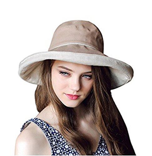 Damen Sommer Strand Hut Sonnenhut Roll up Schlapphut Bucket Hat Faltbarer Eimer Hut großer Rand Anti-UV Fischerhut - Eimer Damen Hut Upf