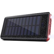 Cargador Solar 24000 mAh Batería Externa, 3 Puertos USB, 2 LED ligeros, Power bank del Movil Portátil Cargador Rapida para iPhone, iPad, Samsung, Huawei, Tablet -Rojo