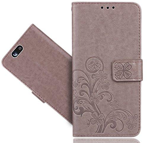 FoneExpert® Wileyfox Spark 4G Tasche, Blume Wallet Case Flip Cover Hüllen Etui Hülle Ledertasche Lederhülle Schutzhülle Für Wileyfox Spark 4G / Spark+ / Spark Plus