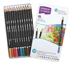 Derwent 2301937 Academy Colouring Pencils Tin - Set of 12