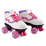 Xootz Disco Quad Skate, Roller Skates with LED Wheels, White, Size 3