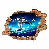 nikima - 032 Wandtattoo Fussballer - Loch in der Wand - Kinderzimmer Junge - in 6 Größen - Coole Kinderzimmer Sticker und Aufkleber angesagte Wanddeko Wandbild Junge Mädchen Größe 1000 x 700 mm