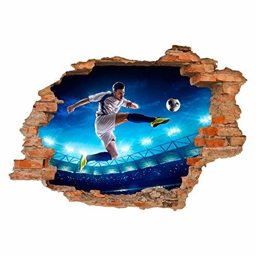 nikima - 032 Wandtattoo Fussballer - Loch in der Wand - Kinderzimmer Junge - in 6 Größen - Coole Kinderzimmer Sticker und Aufkleber angesagte Wanddeko Wandbild Junge Mädchen Größe 750 x 520 mm -