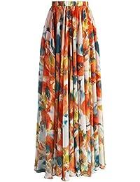 EOZY Skirt Robe Maxi Longue Jupe Bohême Imprimé Fleur Vintage