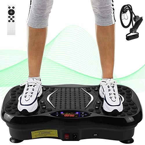AGM Plataforma Vibratoria Máquina de Ejercicio Masaje con Motor Silencioso y Altavoz Bluetooth, Deportivo Multifunción para Adelgazar Tonificar y Relajar Músculos, Peso Máximo Soporte 150kg