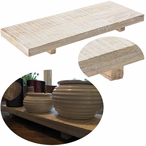 LS-LebenStil Holz Deko-Tablett Kerzenteller Kerzentablett Serviertablett 40x15x4cm Grau Weiß stehend -