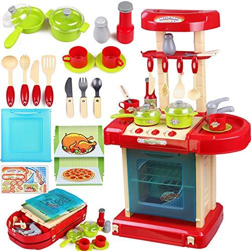 Xyanzi Kinderspielzeug Kinder Küche Spielzeug Set Mädchen Jungen Simulation Mini Küchengeschirr Dress Up Spiel Trolley Kochen Spielzeug (Farbe : Red) Gourmet-mini-set