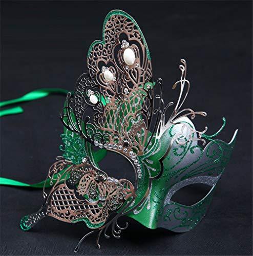 wsjwj Masken für Erwachsene Halloween Kind weibliche Prinzessin Half Face Make-up Kostümfest Venedig Maske Half Face Sexy Eisenmaske, halbe Gesicht Schmetterling grün Spielzeug