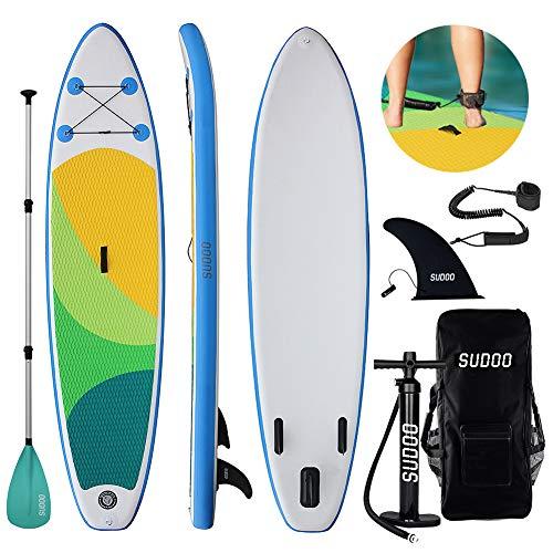 Triclicks Tabla Hinchable Paddle Surf/Sup Paddel Surf con Bomba, Mochila, Aleta Central Desprendible, Kit de Reparación, Remo Ajustable, La Cinta...