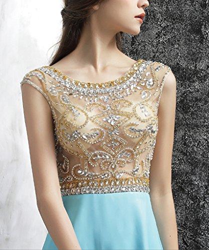 LuckyShe Silk Chiffon Abendkleider Ballkleider Promkleider Türkis