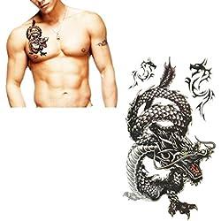 Tattoos Sannysis tatuajes temporales, impermeable dragón Negro, 17.8*10cm