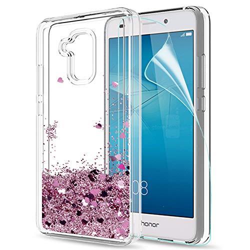 LeYi Hülle Huawei Honor 5C Glitzer Handyhülle mit HD Folie Schutzfolie,Cover TPU Bumper Silikon Flüssigkeit Treibsand Clear Schutzhülle für Case Huawei Honor 5C Handy Hüllen ZX Rot Rosegold