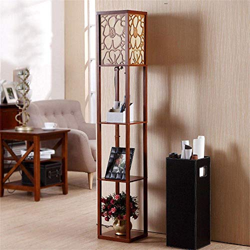LXD Haushalt Stehlampe die neue chinesische moderne minimalistische kreative Retro Holz Wohnzimmer Schlafzimmer Höhle vertikale Lampe (Drei-Farben-Schalter wählbar) Birne,Walnuss Farbe,Fernbedienungs -