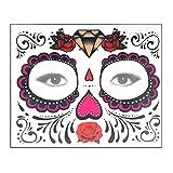 XINAINI Gesichtstattoo Festival Tattoo Gesicht Kunst wasserdichte Maske TemporäRe Schmucksteine Aufkleber FüR Gesicht Halloween Maskerade