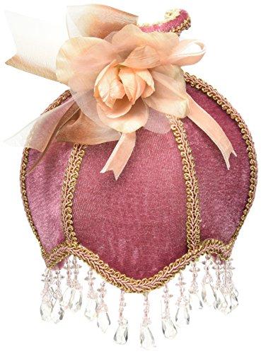 Royal Designs Beaded Burgundy Velvet Victorian Nightlight w/ Designer Fabric w/ Beige Trim, with a Rosette & Bow (NL-108) by