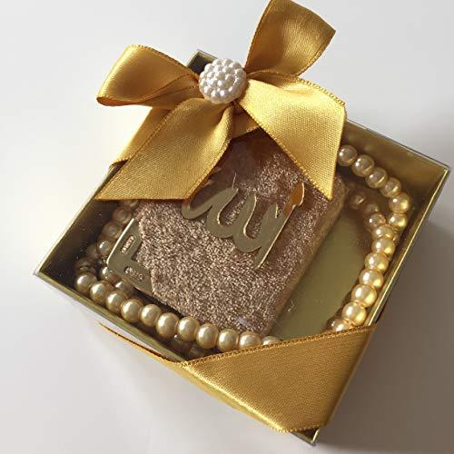 Mevlid Hatırası Mini Kuran & Inci Tesbih 99'lu süslü Kare Kutu Içinde (10 Adet) / Mini Koran & Gebetskette mit 99 Perlen in schöner Geschenkverpackung (10 Stück) (Gold)
