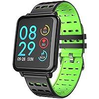 STRIR Smartwatch T2 con monitor de frecuencia cardíaca, reloj inteligente IP67 a prueba de agua, rastreador de fitness con cronómetro, monitor de sueño, podómetro, contador de calorías, control remoto de música, pulsera de actividad Bluetooth para Android y IOS (Verde)