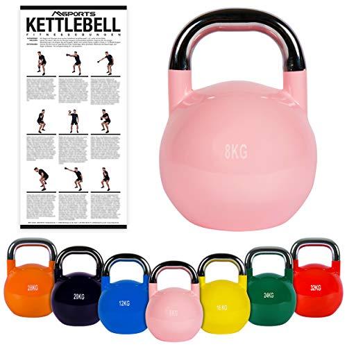 MSPORTS Kettlebell Competition 8 kg   Professional Studio Qualität   inkl. Übungsposter   Wettkampf Kugelhantel