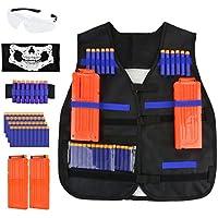 Tactical Vest Kit for Nerf Guns N-Strike Elite Series, Fansport Tactical Vest für Kinder ,1pcs Weste, 2pcs 12-Dart Quick-Reload Clips, 50 pcs Refill Foam Darts,1pcs Armband, 1pcs Gesichtsmaske and Brille