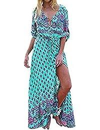 592defe68eaba Damen Kleider Frauen Sommerkleider V-Ansatz Strandkleid Floral Print  Maxikleid Langes Kleid A Line Minikleid
