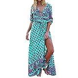 Damen Kleider Frauen Sommerkleider V-Ansatz Strandkleid Floral Print Maxikleid Langes Kleid A Line Minikleid Großen Größen 3/4 Hülse Abendkleid Partykleid Cocktailkleid (2XL, Sexy Blau)