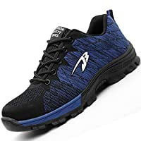 H-Mastery Steel Toe Cap Trainers Mens Womens Safety Shoes Work Lightweight Midsole Protection(Blue,Size 6 UK)