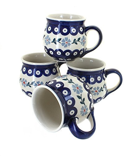 polish-pottery-blue-violet-4-piece-bubble-mug-set-by-blue-rose-pottery