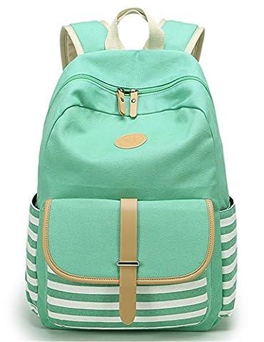 Leaper Striped Canvas School Backpack Cute Laptop Bag Shoulder Rucksack Daypack Water Blue