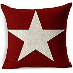 Poens Dream Funda de Coj'n, Vintage Retro Super Star Printed Cotton Linen Decorative Pillow Cushion Cover, 17.7 x 17.7inches