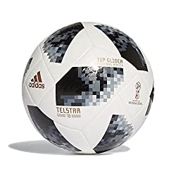 Adidas Official World Cup 2018 Telstar Football, Top Glider, White, Size 5