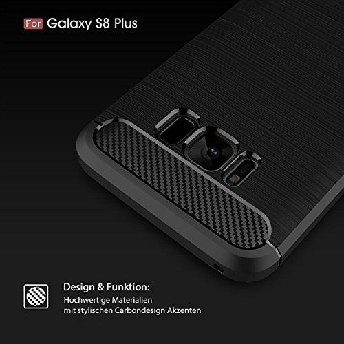 Hülle für Samsung Galaxy S8 Plus Brushed Carbondesign TPU Silikon Handyhülle in Blau von wortek Rot