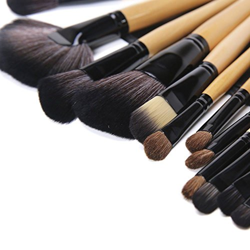 Kabalo 24-Piece Professional Makeup Brushes Set with Wooden Handle / Make up Brush for Foundation, Blusher, Mascara, Cosmetics, etc - with Free Faux Leather Carry Pouch