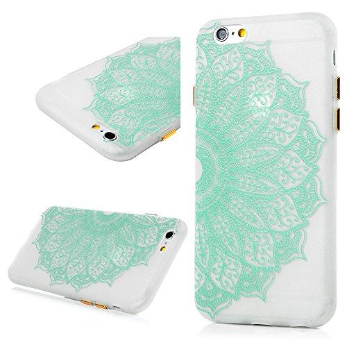 Iphone 6G Iphone 6S Coque - Lanveni Phone Case de Protection Lumineuse en TPU Souple Transparent Flexible Cover Antichoc Pour Iphone 6G Iphone 6S - Diagonale de Fleur Totem de Fleur