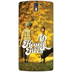 Oneplus One A0001 Back Cover - Heart & Fire Designer Cases