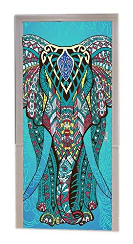 A.Monamour Pegatinas De Pared Mandala Azul Elefante Telón De Fondo Tribal Tatuaje Patrón Indio Hippie con Temática De Impresión Vinilo Puerta Calcomanías Papel Tapiz Murales De Pared Puerta Pegatinas