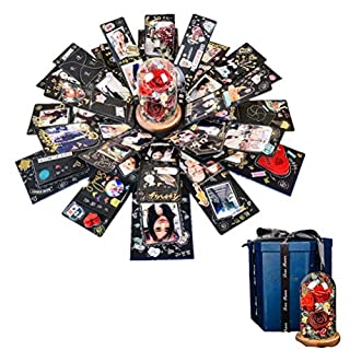 Explosion Box Scrapbook DIY Photo Album with 12 Funny Cards Roses and Lights for Christmas Valentine's Day Wedding and Birthday Gift A1