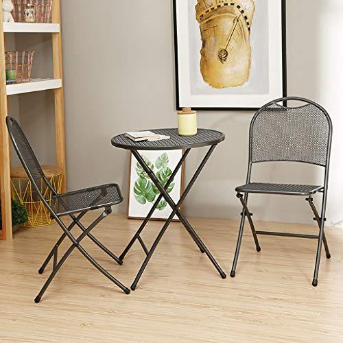 Klappbarer Campingstuhl Outdoor Courtyard Cafe Schmiedeeisen Freizeit Klapptisch und Stühle (Zwei Stühle und EIN Tisch) (Color : B) -