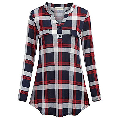 2395918a702548 Toamen Womens Shirt Tops Sale 2019 Newest Ladies Button V Neck Long Sleve  Casual Roll-