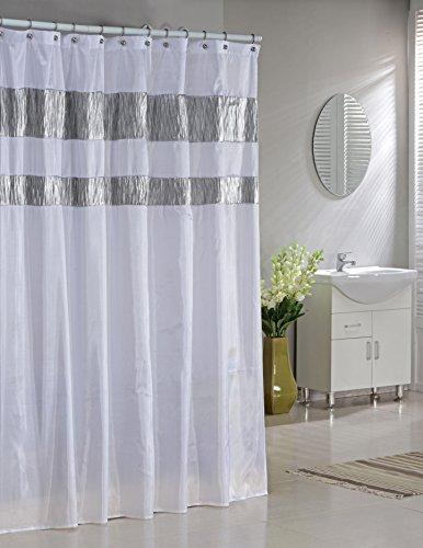 Kunstseide Stoff Vorhang für die Dusche: Schillernder Metallic Akzente (weiß) (Dusche Metallic Vorhang)