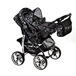 3-in-1 Travel System with Baby Pram, Car Seat, Pushchair & Accessories, Black Flowers  3-in-1 Travel System with Baby Pram, Car Seat, Pushchair & Accessories, Black Flowers 51iFNmDoviL