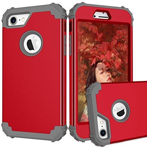 topbin iPhone 7Fall, [3in 1] Harte PC und Weiche Silikon Triple Layer Kratzfest Stoßdämpfung Hybrid Armor Defender Fullbody Schutzhülle für iPhone 7Fall, Red+Grey -