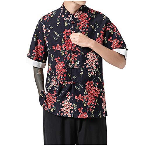echo4745 Männer Hemd Bluse China Stil Baumwolle Kurzarmshirt Leinen Poloshirt Herren Longshirt Mehrfarbig Blumen Gemusterte Jungen Stehkragen Freizeithemd Tops(XXL,rot) -