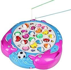Fajiabao Gioco della Pesca Giochi Musicali Pesci con Canna e Luce Giocattoli Elettronici per Bambini da 3 Anni